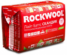 Утеплитель ROCKWOOL LIGHT BATTS SCANDIC / РОКВУЛ ЛАЙТ БАТТС СКАНДИК (800х600х100 мм / 6 шт / 2.88 м2 / 0.288 м3)